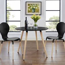 White Wood Dining Room Table by Amazon Com Modway Track Circular Dining Table Black Tables
