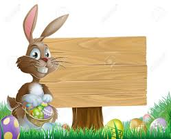 the easter bunny holding a basket of easter eggs with more easter