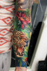 vivid colors leopard tattoo on long sleeve by dave paulo tattoos