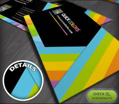 abstract colorful stripes printing company business cards