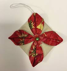 all things quilty and artsy folded fabric ornaments