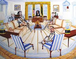 oval office decor office ghost with president obama painting by kenneth michur