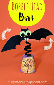Halloween Handprint Crafts Bobble Head Bat With Printable Bat Template Watch It Wobble And