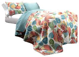 Tropical Bedspreads And Coverlets Layla 3 Piece Orange And Blue Quilt Set Tropical Quilts And