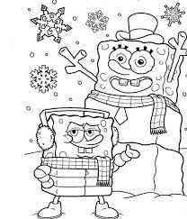 spongebob makes snowman with his shape look welcoming christmas