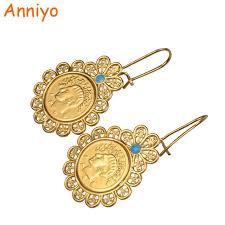 earrings for school anniyo iran coin earrings for women school gold color