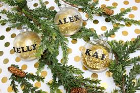 personalized glitter ornament craft using labels