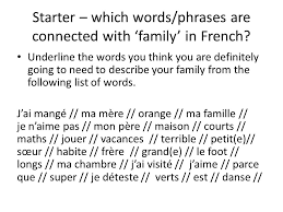 ma famille what to be able to describe your family as part of the