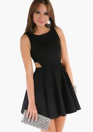 black cut out dress banded side cutout black dress hottie world