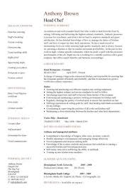 Resume Sample For Cook by Head Chef Resume Templates Examples Job Description Cooking