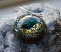 real crystal necklace images Orgonite orgone pendant with real dioptase crystal necklace with jpg