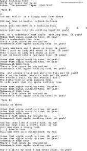 bob dylan song apple suckling tree lyrics and chords