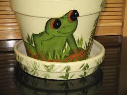 large flower pot saucer painted tree frog design ceramic