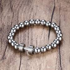 stainless steel charm bracelet chain images Mens stainless steel silver dumbbell charm bracelet with 8mm beads jpg