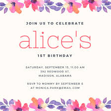 1st birthday pink and purple watercolour flowers 1st birthday invitation