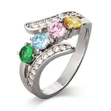 rings with birthstones the 4 cz bypass birthstone s ring features 4 custom