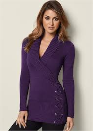 purple sweater venus side lace up sweater in purple