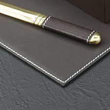 White Leather Desk Blotter Cocoa Brown Leather Desk Pad Collection With Chrome Plated Brass