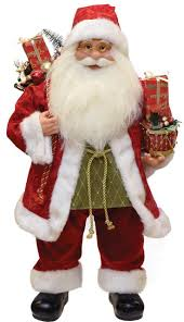 24 modern standing santa claus christmas figure with presents and