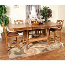 Sunny Design Furniture Sedona Wood Double Leaf Gathering Table U0026 Stools In Rustic Oak