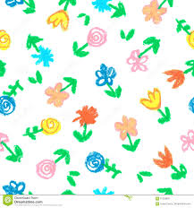 crayon child s drawing of flowers on white seamless hand painting