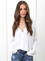 criss cross blouse s v neck criss cross high low blouse roawe com