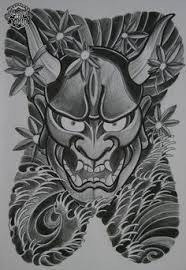 hannya mask tattoo design colour first draft cool tattoo ost