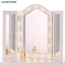 tri fold mirror with lights ikayaa led lighted makeup mirror cosmetic mirror trifold vanity