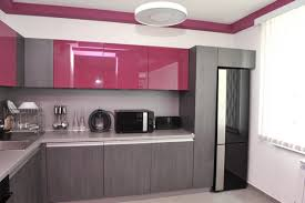 elegant grey and pink modern apartment kitchen design can be decor