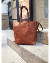 Handmade Leather Tote Bag - don t miss this deal on cognac leather tote with zipper handmade