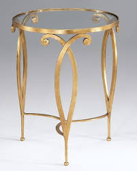 vintage gold side table round hand wrought iron table with scroll design antique gold leaf
