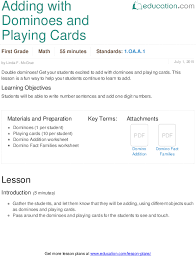 adding with dominoes and playing cards lesson plan education com
