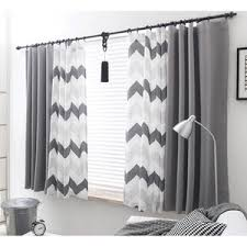 Gray Chevron Curtains Blue And White Wave Polyester Print Striped Modern Chevron
