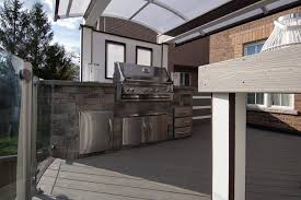 this deck u0027s outdoor kitchen features a gorgeous built in bbq with
