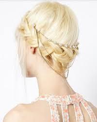 hair cuff gold floral rhinestone three chain bun hair cuff