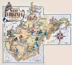 State Map Of Virginia by Large Tourist Illustrated Map Of West Virginia State Vidiani Com