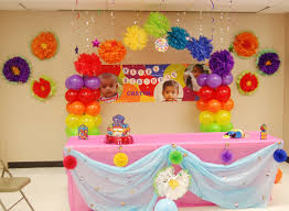 interior design view rainbow themed birthday party decorations