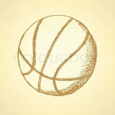 sketch basketball ball vector vintage background eps 10 stock
