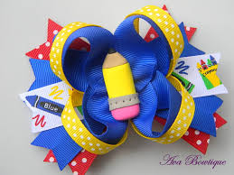 back to school hair bows back to school pinwheel hair bow pencil hair bow b2s