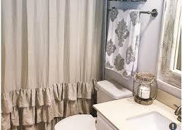 Gray Ruffle Shower Curtain Customized Pure Linen Ruffle Shower Curtain Handmade White Gray
