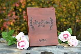 personalized leather guest book leather engraved leaf guest book wedding guest book