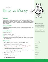 download barter vs money worksheets for kids template for free