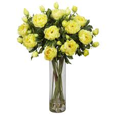 decorating yellow tulip fake floral arrangements with glass vase