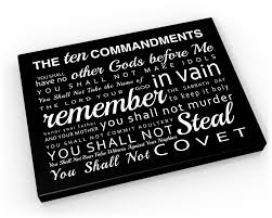 the 10 commandments on canvas religious word art ten
