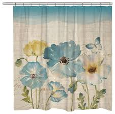 teal watercolor poppies shower curtain contemporary shower