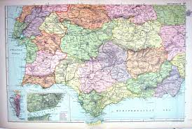 Spain Portugal Map by 25 Print Map Bacon 1911 South West Spain Portugal Lisbon Gibraltar
