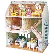 Dolls House Furniture Diy Amazon Com Paper 3d Puzzle Diy Model Dreamy Dollhouse Villa Doll