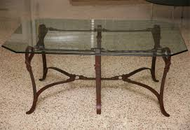 Coffee Tables For Sale by Rich Hermes Style Faux Leather Wrought Iron Coffee Table For Sale