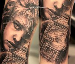 reaic grey big ben tattoo on arm sleeve visual beauty