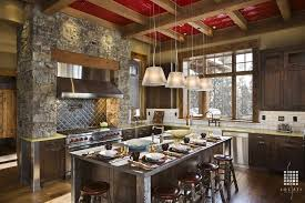 kitchen metal backsplash rustic kitchen with pendant light by locati architects zillow